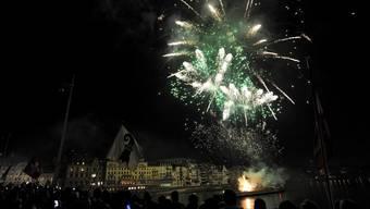 Nur auf den ersten Blick grün: das Basler 1. August-Feuerwerk.