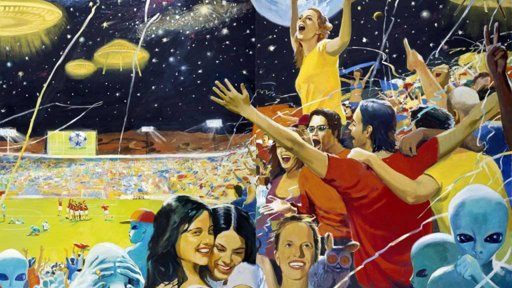 Das Gemälde «Earth Wins!» (2004) von Vladimir Dubossarsky & Alexander Vinogradov ist vom 5. April bis 30. Juni 2019 im Kunsthaus Zürich in der Ausstellung «Fly me to the Moon» zu sehen.
