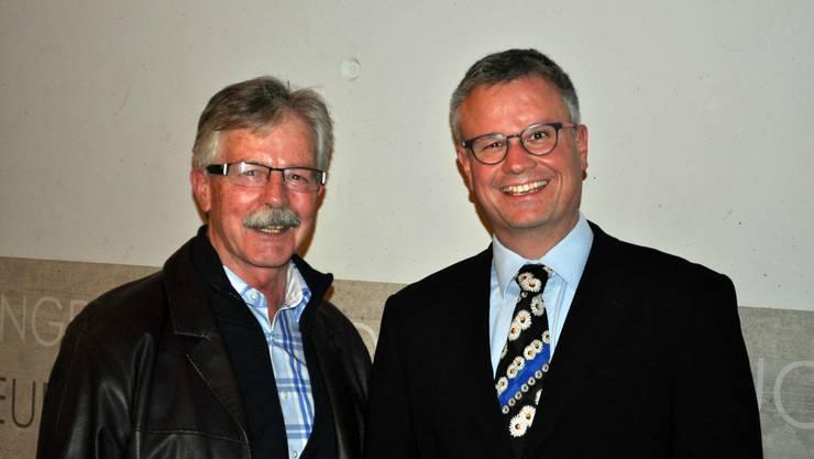 Schuldirektor Hanspeter Aebischer (links) und sein designierter Nachfolger Christoph Kohler.