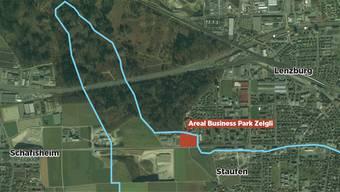 Die SWL Energie AG liebäugelt mit dem Umzug in den Staufner Businesspark Zelgli an der Lenzburger Stadtgrenze (blaue Linie).