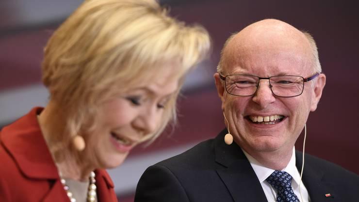 VR-Präsidentin Monika Ribar und Vincent Ducrot.