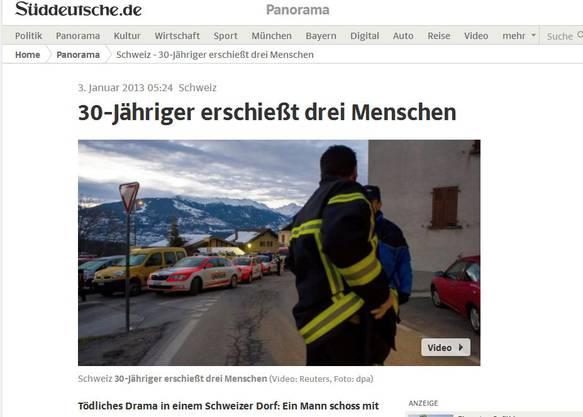 Auch die Süddeutsche Zeitung berichtet über das Drama im Wallis