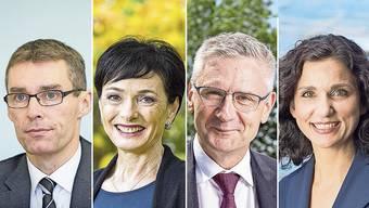 Die Parteipräsidenten von links nach rechts: Lukas Pfisterer (FDP), Marianne Binder (CVP), Andreas Glarner (SVP) und Gabriela Suter (SP).