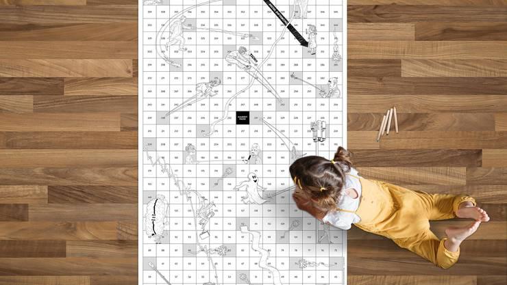 Das grosse Leiterlispiel ist 2 Quadratmeter gross – und kann auch ausgemalt werden.