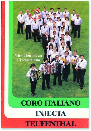 Baggio (roter Kreis oben) als junger Mann abgebildet in der Jubiläumsbroschüre des «Coro» aus dem Jahr 1987.