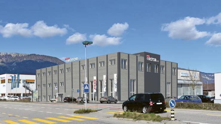 Visualisierung des neuen Hangars beim Flughafen Grenchen.