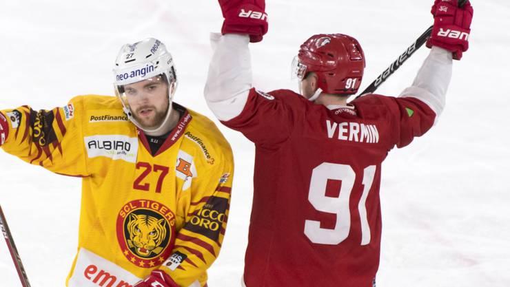 Doppeltorschütze Joël Vermin (Nr. 91) jubelt - auch dank seiner Goals kam Lausanne gegen die SCL Tigers zu einem 5:2-Sieg