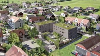 Die Visualisierung zeigt die beiden geplanten Gebäude (Mitte).