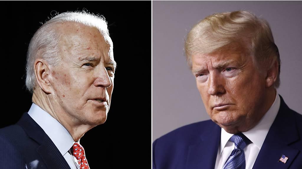 ARCHIV - Joe Biden (L) und US-Präsident Donald Trump. Foto: ROURKE/SEMANSKY/AP/dpa