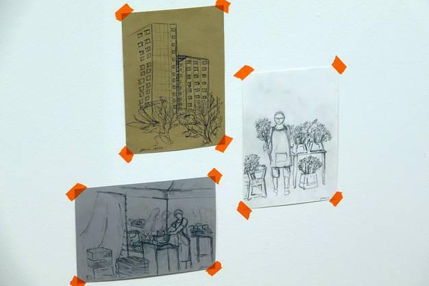 Einige Werke von Urban Sketcher Olivia Aloisi.
