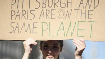 In Pittsburgh und anderswo demonstrieren Menschen für den Pariser Vertrag.