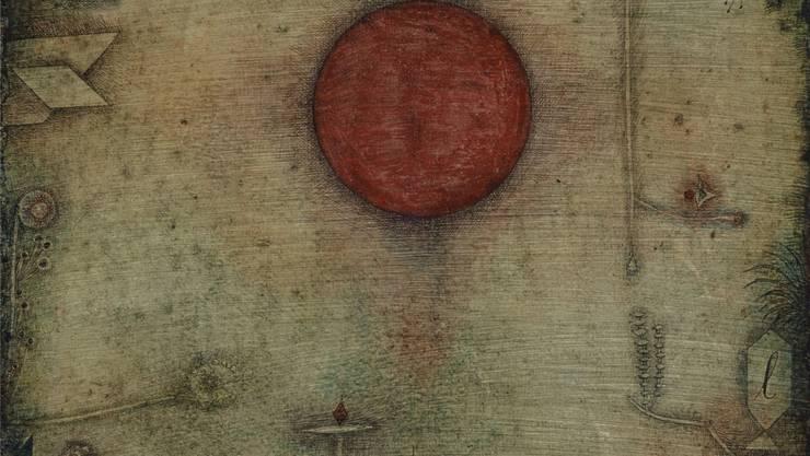 Paul Klee: «Ad marginem», 1930 (1935–1936 überarbeitet), 43,5×33 cm; Wasserfarbe und Feder auf Lackgrundierung auf Karton auf Keilrahmen genagelt – rückseitig weisse Grundierung mit Farbspuren.