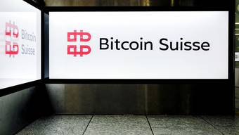 The logo of Bitcoin Suisse at Zurich Airport in Kloten, Switzerland, on May 1, 2019. (KEYSTONE/Petra Orosz)