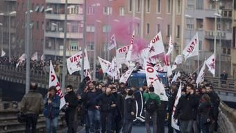 Teilnehmer einer Demonstration in Rom