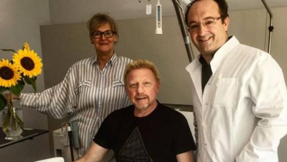 Boris Becker mit den Ärzten Eva Knajbl und Victor Valderrabano.