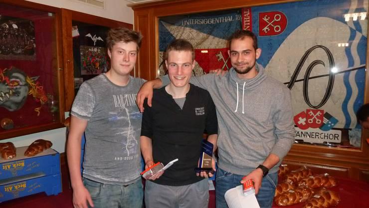 Die besten Jungschützen: Nico Weber, Sandro Keller, Morris Meier