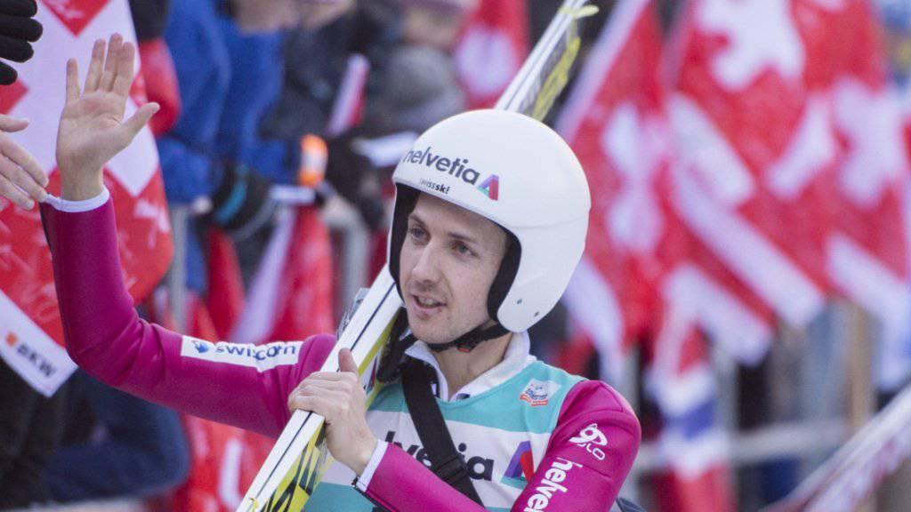 Simon Ammann schaffte im zweiten Durchgang eine klare Steigerung