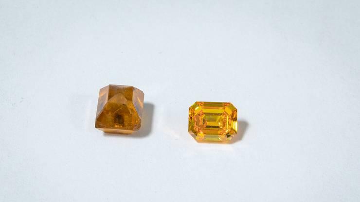Der Rohdiamant (links) ist matt, wenn er aus der Presse kommt. Um ihn zum Funklen zu bringen, muss man ihn erst schleifen.