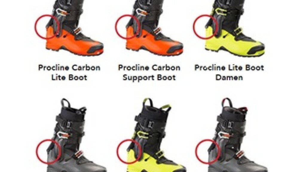 Bei den abgebildeten Skischuhen besteht die Gefahr, dass sich ein Achsbolzen lockert. Der Hersteller ruft deshalb alles sechs Modelle zurück.