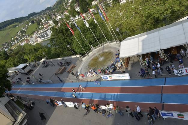 Die Sprintbahn auf dem Bahnhofplatz