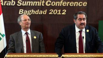 Der irakische Aussenminister Hoshyar Zebar (r.) und der stellvertretende Generalsekretär der Arabischen Liga, Ahmed Ben Helli