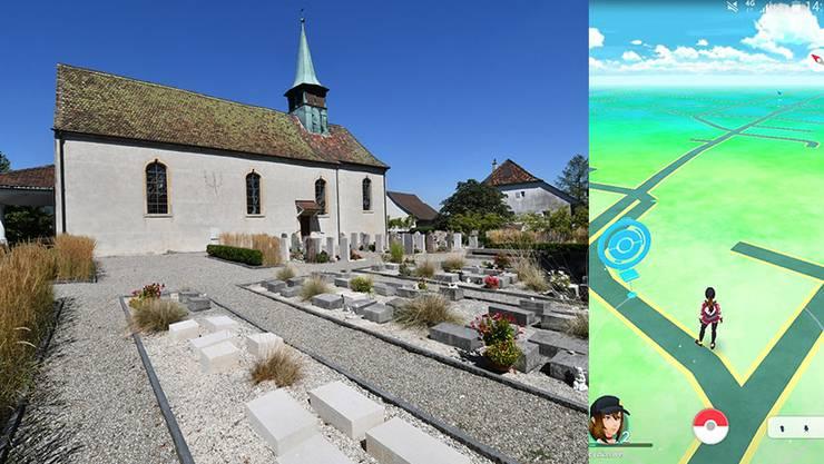 Der Friedhof Starrkirch-Wil mit der Kirche, bei deren Eingang (links) ein «Poké-Stop» platziert ist.
