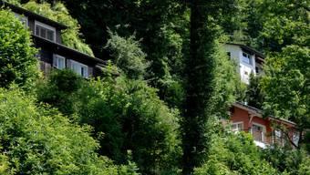 Die betroffenen Häuser im Steinschlaggebeiet Horlaui (Archiv)