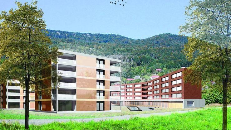 Projekt: In den Mehrfamilienhäusern (l.) sind 75 altersgerechte Wohungen geplant, im Pflegeheim (r.) Raum für 72 Personen. illustration: zvg