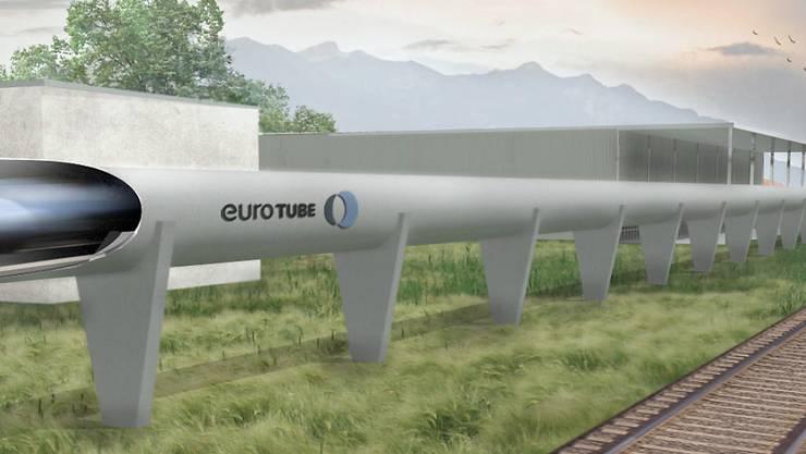 In der Vakuumröhre können Geschwindigkeiten von bis zu 1100 km/h erreicht werden. Die erste derartige Teststrecke soll im Wallis gebaut werden.