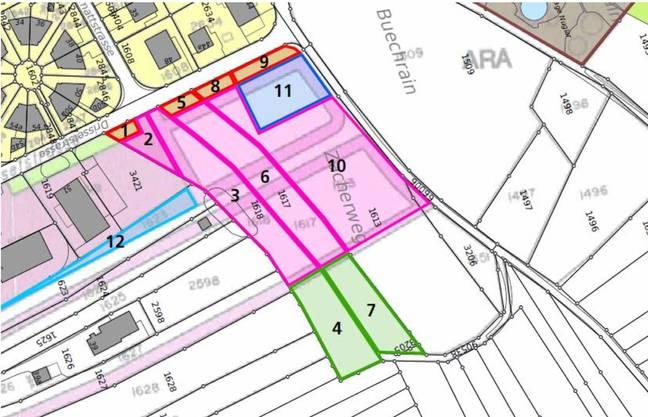 Geplanter Standort für den neuen Werkhof (Fläche in Magenta), die Wertstoffsammelstelle und das Feuerwehrmagazin in Nuglar.