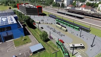 Die Endhaltestelle des 3er-Trams soll westlich vom Bahnhof von Saint-Louis entstehen.