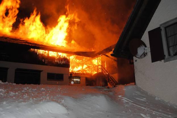 Brand im Berghof Mittleres Brüggli