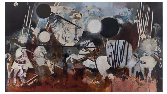 Uwe Wittwer, «Schlacht nach Uccello», 2013, Öl auf Leinwand.
