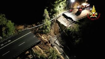 Die eingestürzte Brücke in Ligurien.