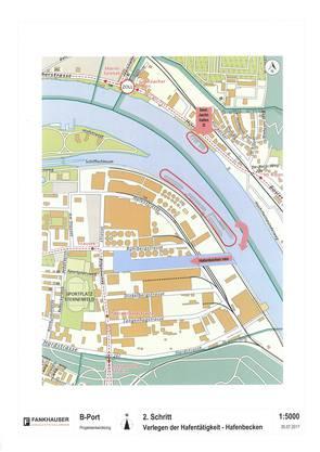 Ein Kernstück des Umwandlungs-Projekts ist ein neues Hafenbecken, um die Schiffs-Anlegestellen des nördlichen Hafenteils zu verlegen.