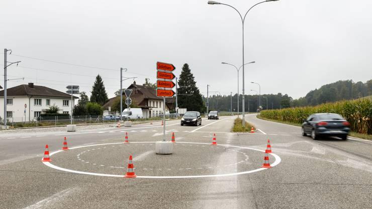 Die Bauarbeiten für den provisorischen Kreisel in Flumenthal sind bereits erledigt.