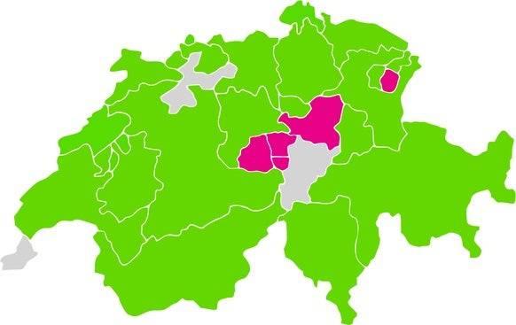 Vier Kantone sprachen sich gegen die Gesetzesänderung aus. Grafik: watson.ch