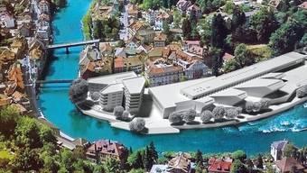 Mit ihrer provokativen Fotomontage stellt die IG vor allem die Grösse des Verenahof-Projekts infrage.  zvg Graues Projekt, grüne Umgebung, blaue Limmat: Die Fotomontage erzielt ihre Wirkung.  zvg