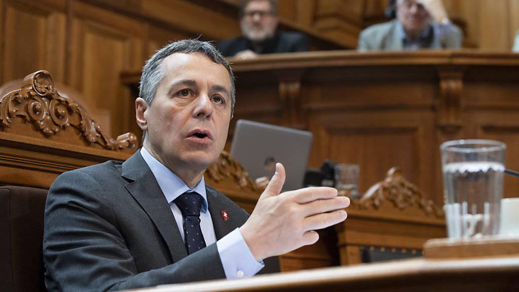 Aussenminister Ignazio Cassis warnt in einem Interview mit der «NZZ» vom Mittwoch, dass die Schweiz ein sehr gefährliches Spiel mit der EU spiele. (Archivbild)