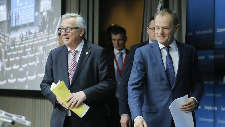 Verhandlungen mit Grossbritannien ziehen sich hin: EU-Gipfelchef Donald Tusk (rechts) und EU-Kommissionschef Jean-Claude Juncker bei einer Medienkonferenz in Brüssel.
