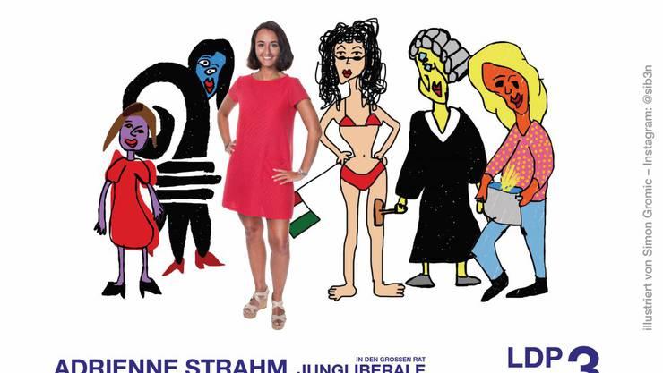 Die Jungliberale Adrienne Strahm zeigt den Baslerstab auf ihrem Flyer.
