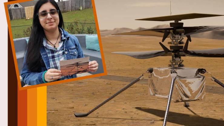 """Vaneeza Rupani von der Tuscaloosa County High School in Northport, Alabama, hat den besten von 28'000 Namens-Vorschlägen gemacht für das Mars-Heliköpterchen im Bild. Es wird jetzt """"Ingenuity"""" getauft, """"Einfallsreichtum"""". (Pressebild Nasa)"""