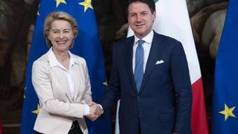 Die designierte EU-Kommissionspräsidentin Ursula von der Leyen (l.) beim Treffen mit Italiens Ministerpräsidenten Giuseppe Conte in Rom.