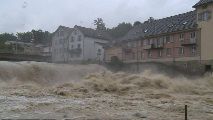 Die Thur tritt über die Ufer.