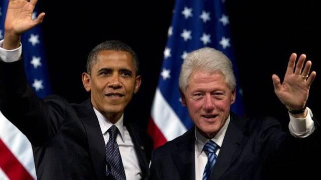 US-Präsident Barack Obama und der ehemalige Präsident Bill Clinton an einer Wahlkampfveranstaltung