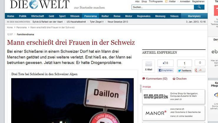 Das Drama von Daillon auf dem Online-Portal der Welt