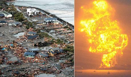 Links die Küste Japans nachdem sie ein Tsunami überrollt hat: Kaum ein Haus steht noch. Rechts explodiert eine Ölraffinerie. Die verschwindend kleinen Öltanker im Vordergrund geben eine ungefähre Ahnung vom Ausmass der Explosion.