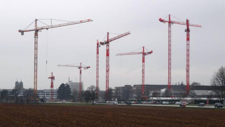 Die Novartis-Baustelle in Stein Ende März