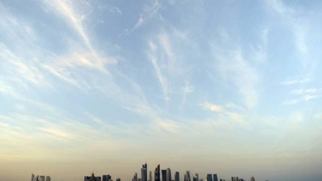 Die Skyline von Doha, Hauptstadt des Emirats Katar.