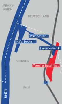 Kann den gesamten heutigen Umschlag der Rheinhäfen an Standard-Containern schlucken: Gateway Basel Nord, inklusive neues Hafenbecken III.